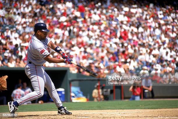 Albert Belle of the Cleveland Indians bats during a 1996 season MLB game