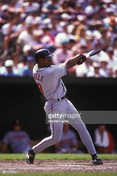 Albert Belle of the Cleveland Indians bats during a baseball game against the Baltimore Orioles on June 10 1995 at Camden Yards in Baltimore Maryland