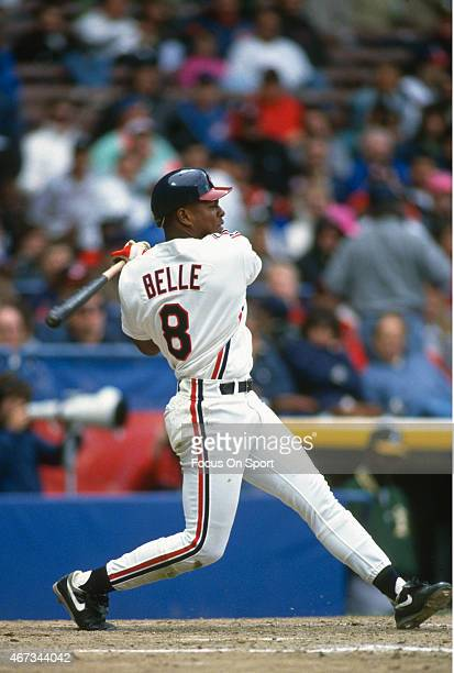 Albert Belle of the Cleveland Indians bats during an Major League Baseball game circa 1993 at Cleveland Stadium in Cleveland Ohio Belle played for...