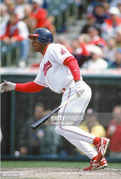 Albert Belle of the Cleveland Indians bats during an Major League Baseball game circa 1995 at Cleveland Stadium in Cleveland Ohio Belle played for...