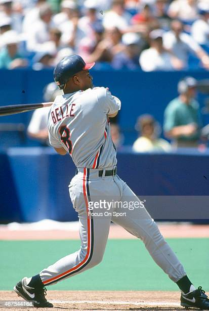 Albert Belle of the Cleveland Indians bats during an Major League Baseball game circa 1992 Belle played for the Indians from 198996
