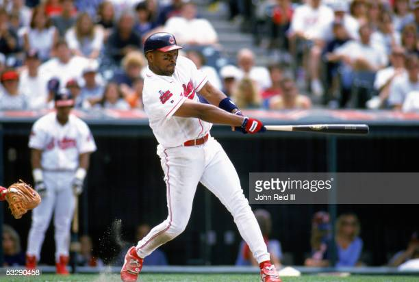 Albert Belle of the Cleveland Indians bats during an MLB game at Jacobs Field in Cleveland Ohio