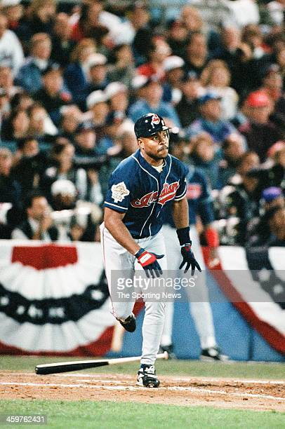 Albert Belle of the Cleveland Indians bats during Game One of the World Series against the Atlanta Braves on October 21 1995 at AtlantaFulton County...