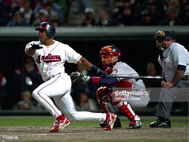 Albert Belle of the Cleveland Indians batting against the Atlanta Braves during Game 3 of the World Series on October 24 1995 in Cleveland Ohio