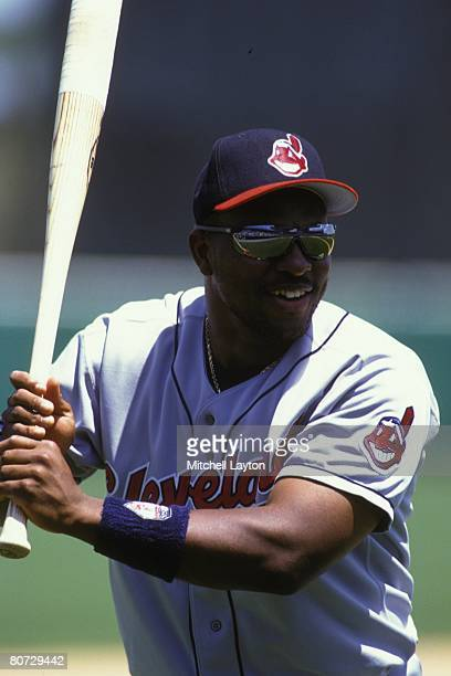 Albert Belle of the Cleveland Indians before a baseball game against the Baltimore Orioles on April 5 1995 at Camden Yards in Baltimore Maryland
