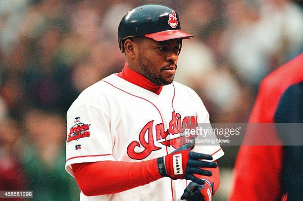 Albert Belle of the Cleveland Indians looks on against the Detroit Tigers at Comerica Park on May 16 1996 in Detroit Michigan