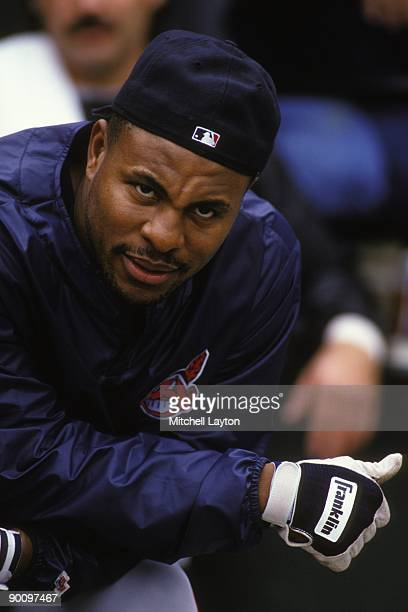 Albert Belle of the Cleveland Indians looks on before during a baseball game against the Baltimore Orioles on May 1 1994 at Camden Yards in Baltimore...