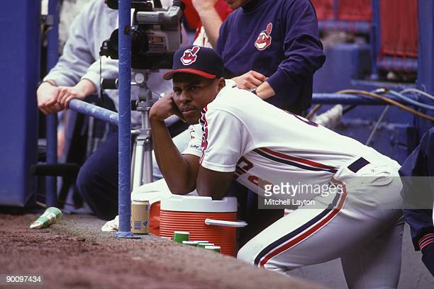 Albert Belle of the Cleveland Indians looks on during a baseball game against the Boston Red Sox on April 2 1992 at Cleveland Municipal Stadium in...