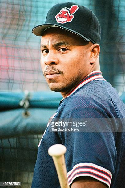 Albert Belle of the Cleveland Indians prior to Game Six of the World Series against the Atlanta Braves on October 28 1995 at AtlantaFulton County...