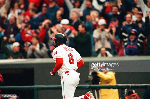 Albert Belle of the Cleveland Indians runs against the Detroit Tigers at Comerica Park on May 16 1996 in Detroit Michigan