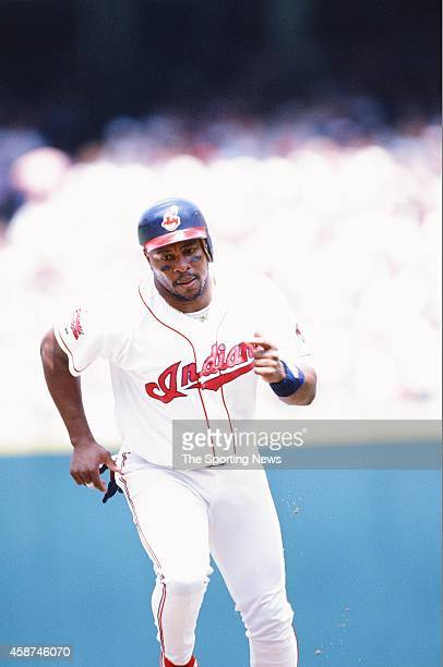 Albert Belle of the Cleveland Indians runs against the Texas Rangers at Progressive Field on May 18 1996 in Cleveland Ohio
