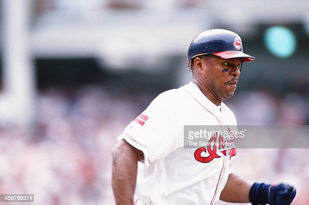 Albert Belle of the Cleveland Indians runs against the Texas Rangers at Progressive Field on May 19 1996 in Cleveland Ohio