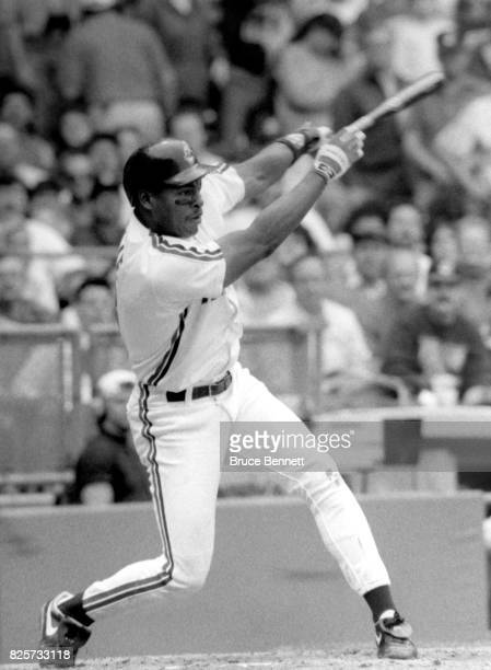 Albert Belle of the Cleveland Indians swings an the pitch during an MLB game circa 1990 at Cleveland Stadium in Cleveland Ohio