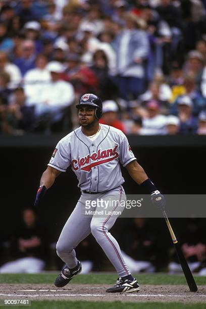 Albert Belle of the Cleveland Indians takes a swing during a baseball game against the Baltimore Orioles on May 1 1994 at Camden Yards in Baltimore...