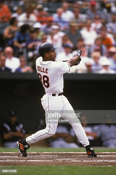 Albert Belle#88 of the Baltimore Orioles takes a swing during a baseball game against the Chicago White Sox on August 17 2000 at Camden Yards in...