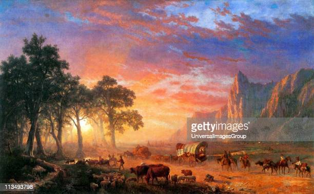 Albert Bierstadt GermanAmerican painter and a leading artist within the Hudson River School of American landscape painters The Oregon Trail 1869