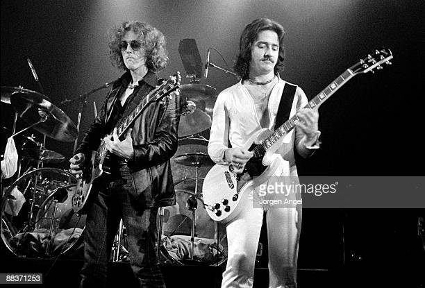 Albert Bouchard and Buck Dharma of the band Blue Oyster Cult perform on stage on October 27th 1975 in Copenhagen Denmark