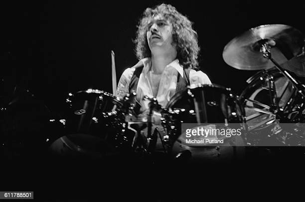 Albert Bouchard drumming with American rock group Blue Oyster Cult USA 14th January 1978