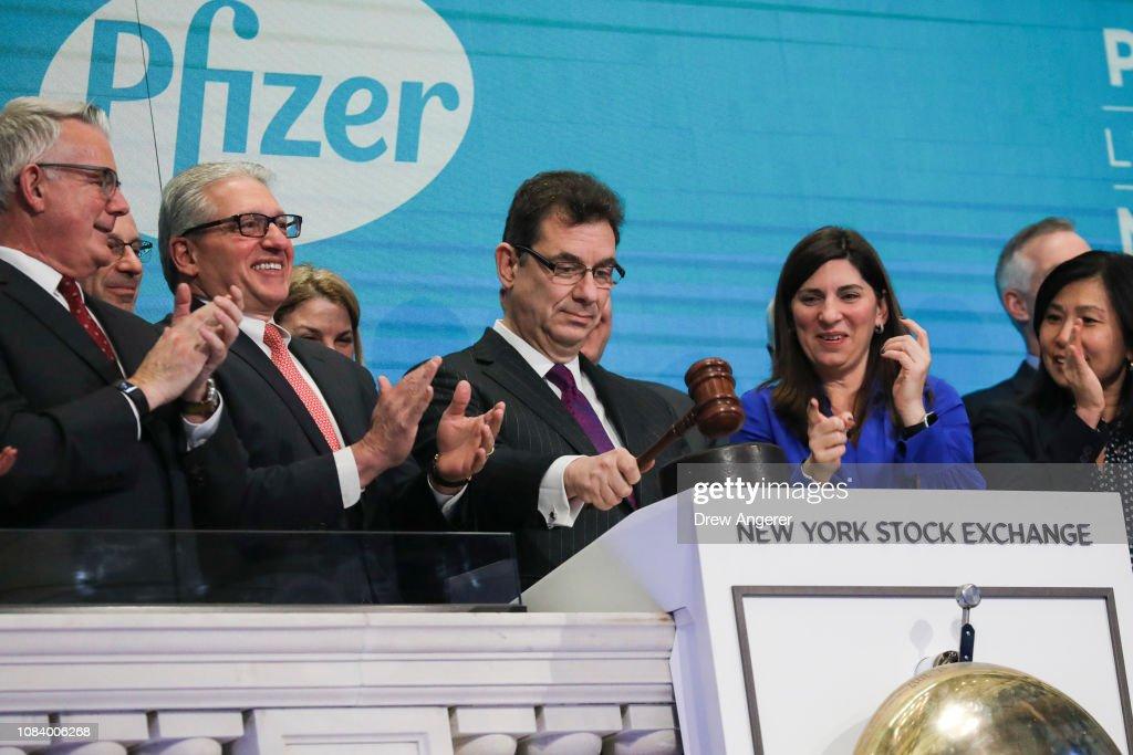 Pfizer CEO Rings NYSE Closing Bell As Stocks Rally On China Trade Hopes : News Photo