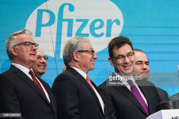 Albert Bourla chief executive officer of Pfizer pharmaceutical company waits to ring the closing bell at the New York Stock Exchange on Thursday...