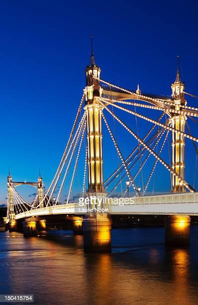Albert Bridge at dusk, London, England