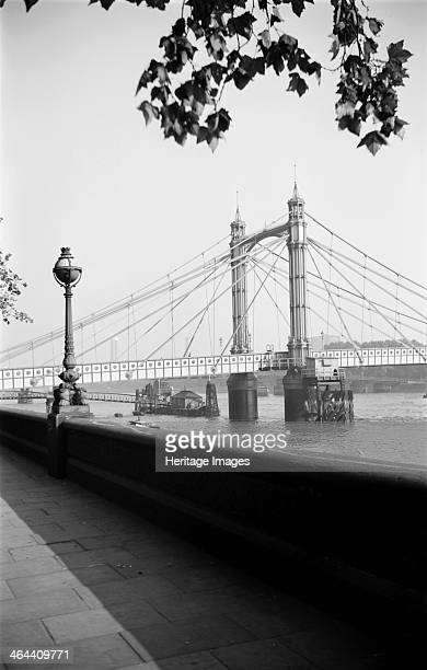 Albert Bridge from the Chelsea Embankment London c1945c1965 Albert Bridge viewed here from the Chelsea Embankment was built in 18711873 by RM Ordish...