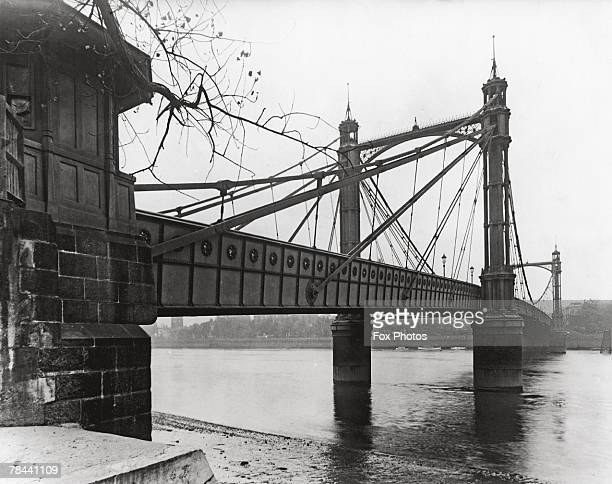 Albert Bridge in London designed by Rowland Mason Ordish which spans the Thames between Chelsea and Battersea circa 1935