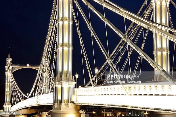 Albert Bridge is seen lit up at night on November 7 2013 in London England