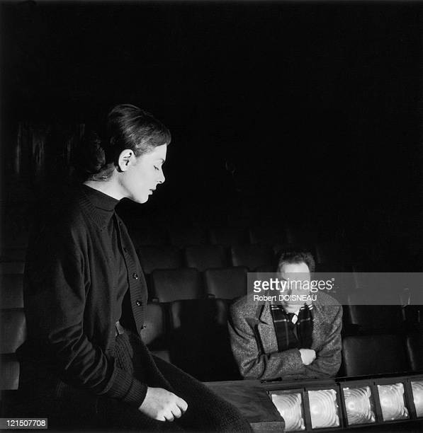 Albert Camus And Catherine Sellers Rehearsing A Requiem For A Nun