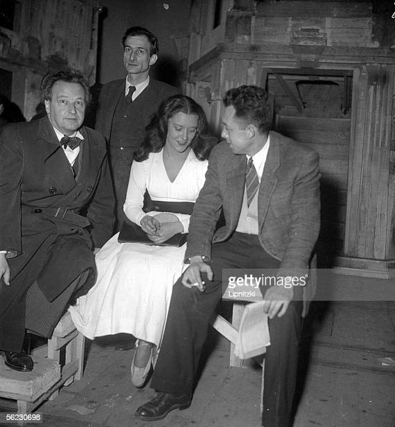 Albert Camus at the time of a rehearsal of his show L'Etat de siege with Arthur Honegger author of the stage music Balthus decorator and Maria...