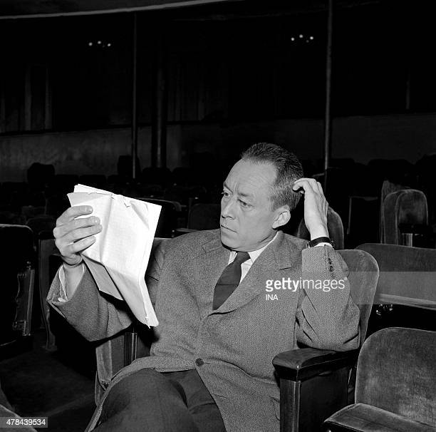 Albert Camus during the shooting of the program ''Closeup'' to the theater Antoine where he repeats'' The persons possessed ''whom he has just...
