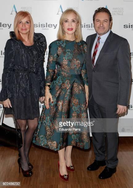Albert Castillon Carmen Lomana and Susana Gasch attend the 'El armario de Carmen Lomana' exhibition photocall at Costume museum on February 21 2018...