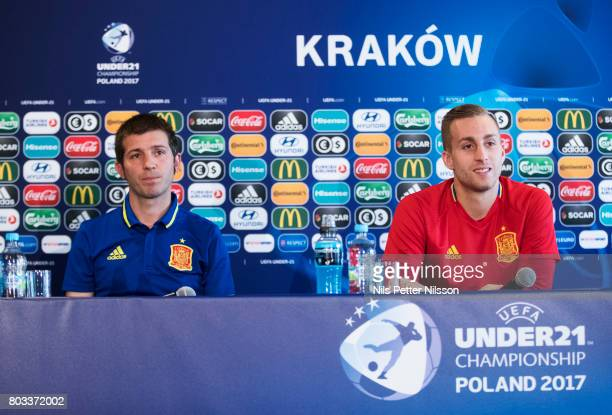 Albert Celades head coach of Spain and Gerard Deulofeu of Spain during the Spain U21 national team press conference at Krakow Stadium on June 29 2017...