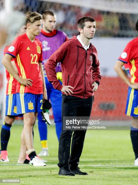 Albert Celades head coach of Spain dejected after the UEFA U21 Final match between Germany and Spain at Krakow Stadium on June 30 2017 in Krakow...