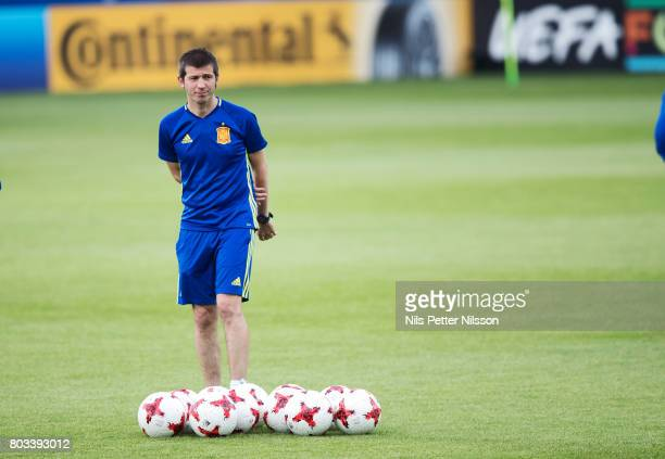 Albert Celades head coach of Spain during the Spain U21 national team training at Krakow Stadium on June 29 2017 in Krakow Poland