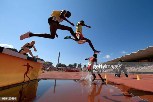 Albert Chemutai of Uganda jumps over the water hurdle during the final of the men's 3000m steeplechase on day six of The IAAF World U20 Championships...