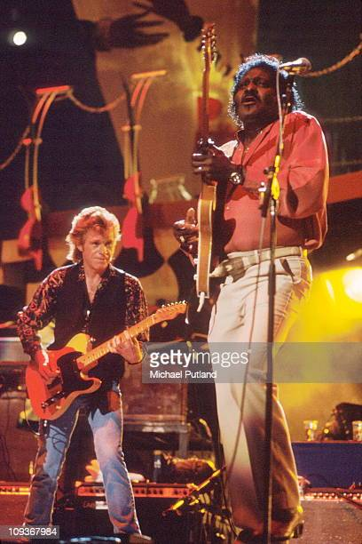 Albert Collins and Dave Edmunds perform onstage London 1991