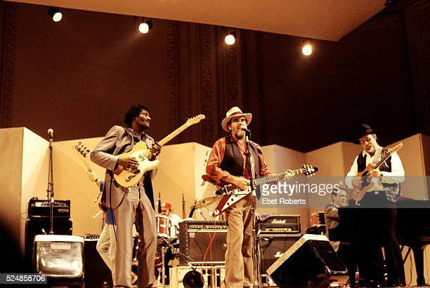 Albert Collins Lonnie Mack and Roy Buchanan performing at a 'Guitar Greats' Concert at Carnegie Hall in New York City on December 6 1985
