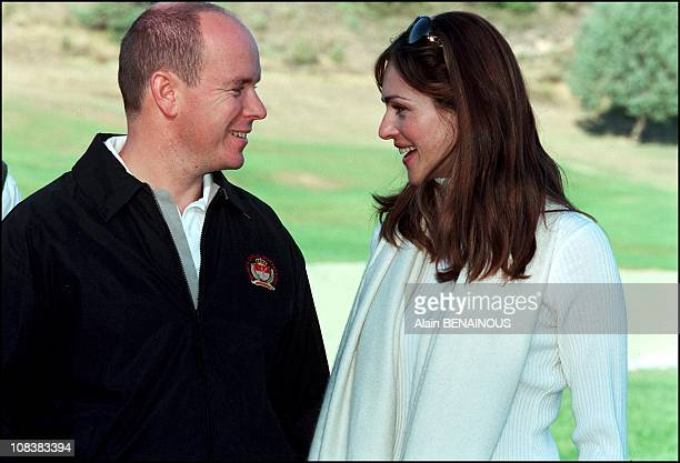 Albert de Monaco and Tasha Vasconcelos at Golf championship of celebrities in Monaco on October 07 2000