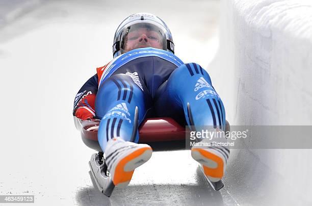 Albert Demchenko of Russia competes during the FIL Viessmann Luge World Cup Men event at the DKB Eiskanal Rennschlitten- und Bobbahn Altenberg on...