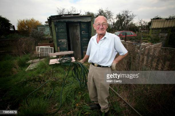 Albert Dickenson works on his plot on the Manor Garden Allotments at the heart of the 2012 Olympic site on April 11, 2007 in London. Albert has had...