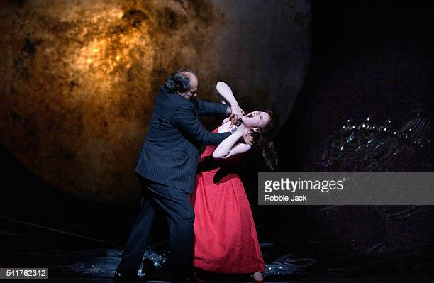 Albert Dohmen and Petra Lang in the Royal Opera production of Duke Bluebeard's Castle at the Royal Opera House Covent Garden London