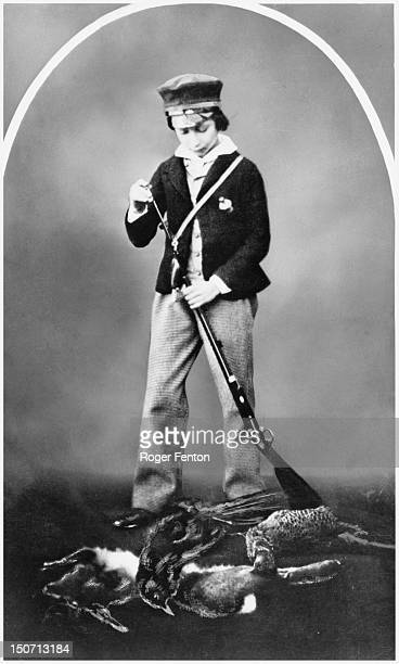 Albert Edward, Prince of Wales , and the future King Edward VII, with the spoils of the hunt, 8th February 1854.