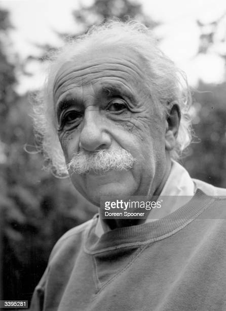 Albert Einstein , German-Swiss-American mathematical atomic physicist and Nobel prizewinner, at home in Princeton.
