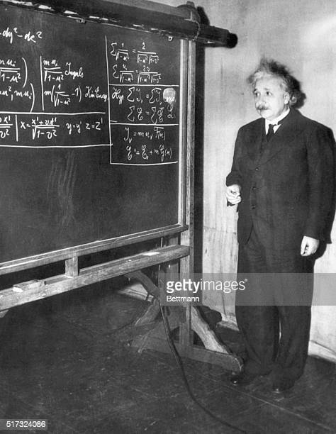 Albert Einstein gives a lecture to the American Association for the Advancement of Science