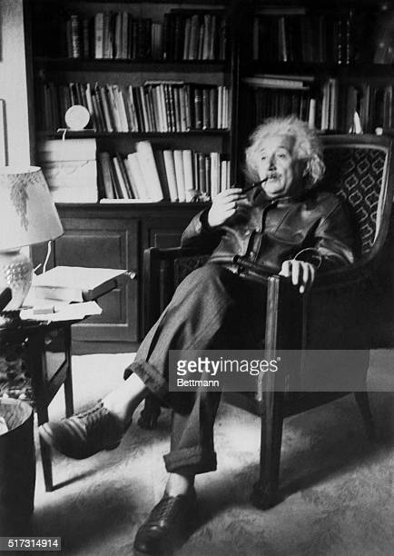 Albert Einstein in His Study Princeton New Jersey Professor Albert Einstein one of the world's leading physicists author of the theory of relativity...