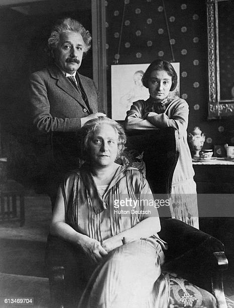 Albert Einstein photographed on his fiftieth birthday with his wife and daughter Margot The photograph was taken whilst they were still living in...