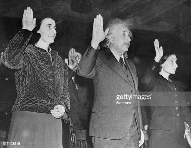 Albert Einstein the first citizen of the world of Science and a German Jewish refugee for many years is shown as he took his oath of allegiance to...