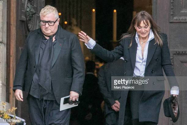Albert Elbaz and Babeth Djian attend Peter Lindbergh's funeral at Eglise Saint-Sulpice on September 24, 2019 in Paris, France.