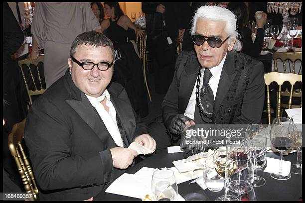 Albert Elbaz and Karl Lagerfeld at Charity Evening Of Babeth Djian's OTM Association For Rwanda's Children